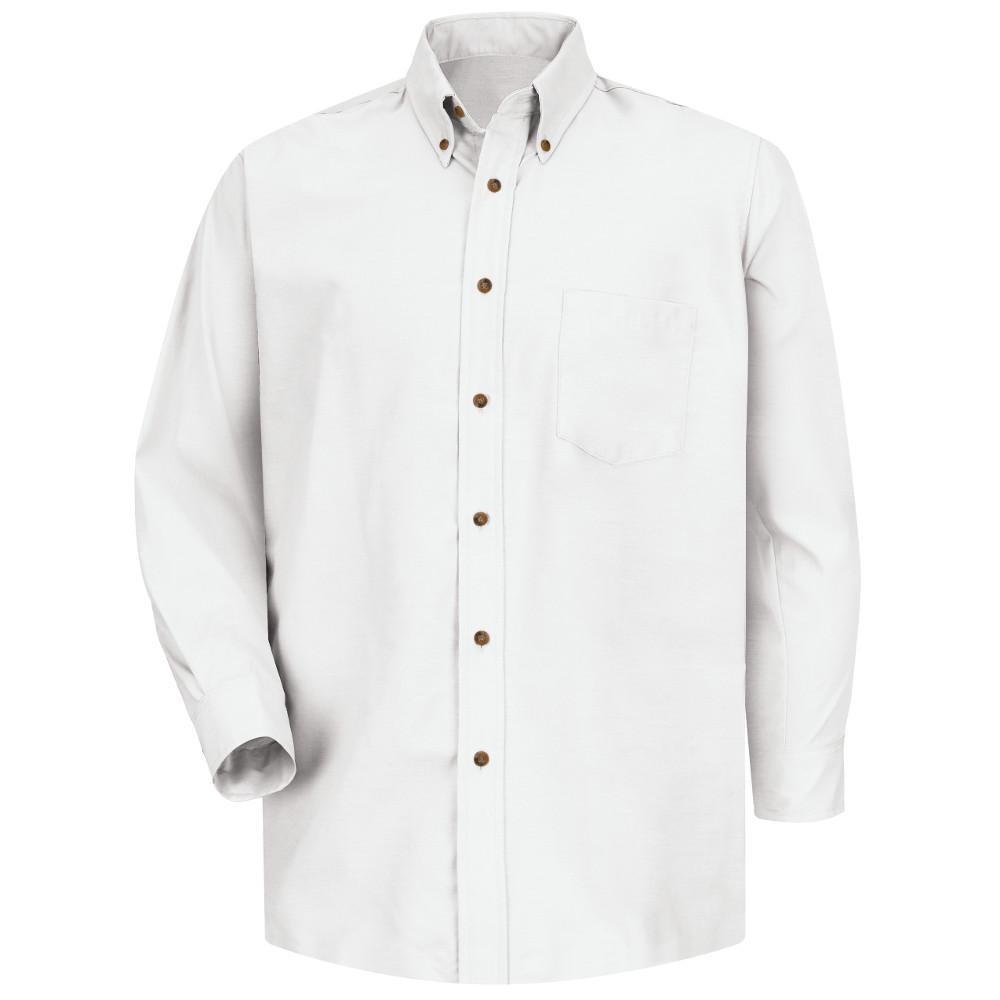 Men's Size 2XL x 36/37 White Poplin Dress Shirt