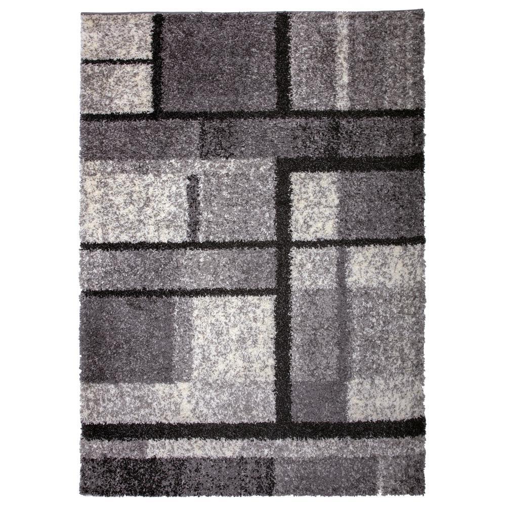 Cozy Shag Contemporary Geometric Boxes Area Rug 5' x 7' Gray