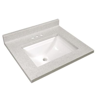 25 in. W Cultured Marble Vanity Top in Frost with Solid White Basin and 4 in. Faucet Spread
