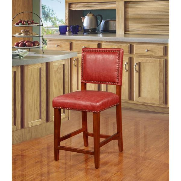 Linon Home Decor Brook 24 in. Red Cushioned Bar Stool 0232RED-01-KD-U