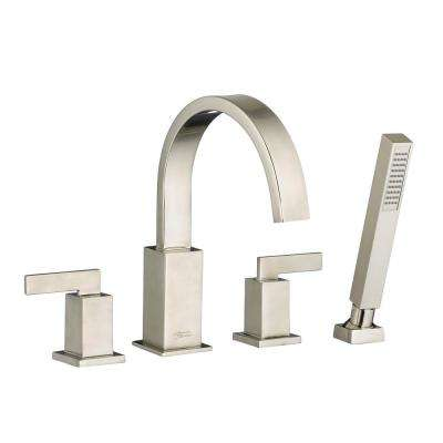 Times Square 2-Handle Deck-Mount Roman Tub Faucet with Hand Shower for Flash Rough-in Valves in Brushed Nickel