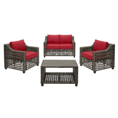 Briar Ridge 4-Piece Brown Wicker Outdoor Patio Conversation Deep Seating Set with CushionGuard Chili Red Cushions