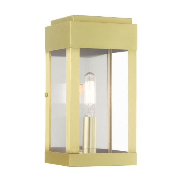 Livex Lighting York 1 Light Satin Brass Outdoor Ada Wall Lantern Sconce 21231 12 The Home Depot