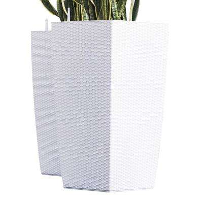 Xbrand 30 in. Tall White Nested Rattan Self Watering Indoor/Outdoor Square Planter Pot (Set of 2)