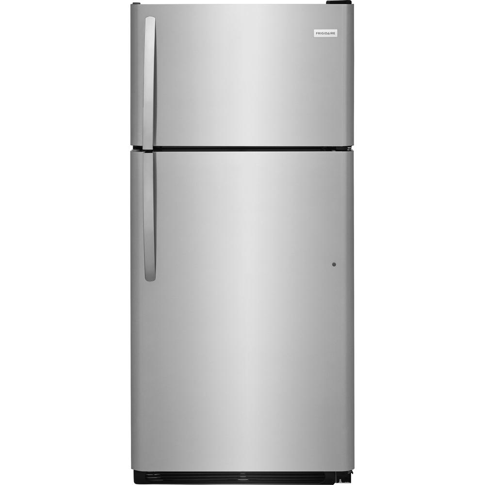 frigidaire 18 cu ft top freezer refrigerator in stainless steel energy star ffht1832ts the