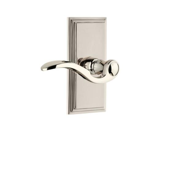 Grandeur Carre Plate 2 3 8 In Backset Polished Nickel Privacy Bed Bath With Bellagio Door Lever 811133 The Home Depot