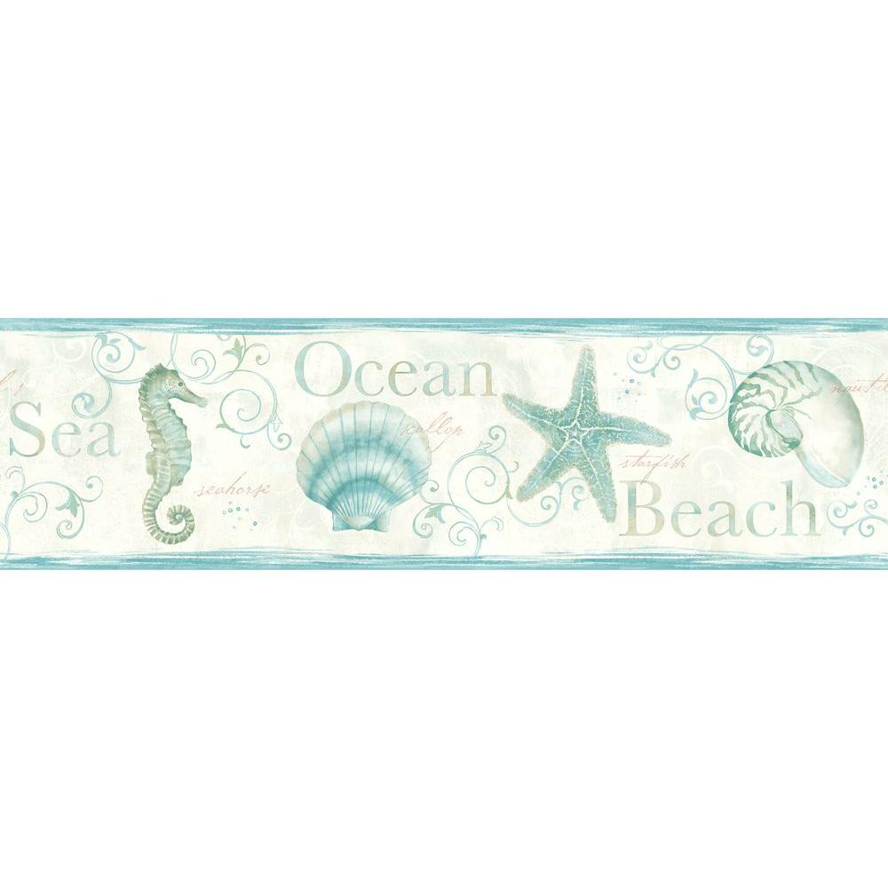 Island Bay Wallpaper Border Sealife Coastal 3 Colors Available Seashells