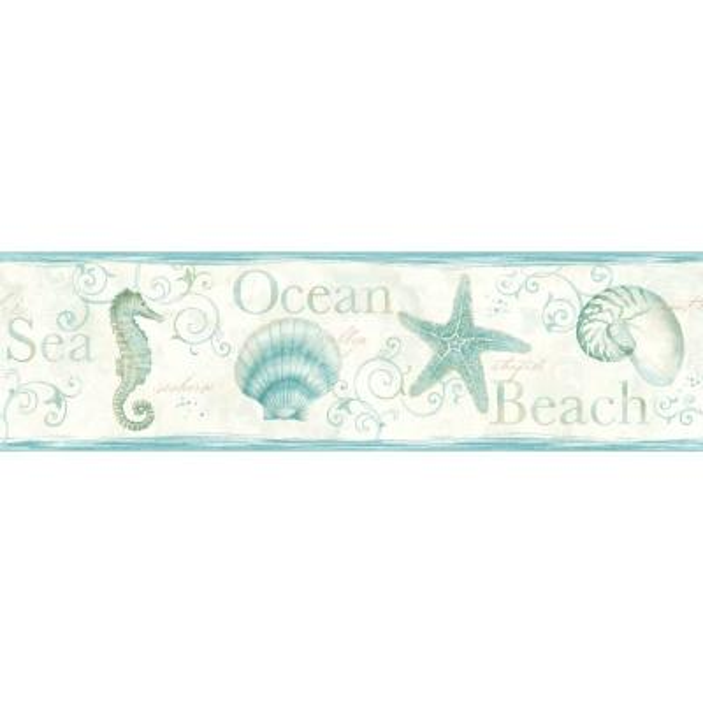 Island Bay Teal Seashells Wallpaper Border Sample