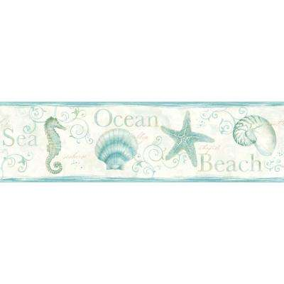 Island Bay Teal Seashells Teal Wallpaper Border Sample