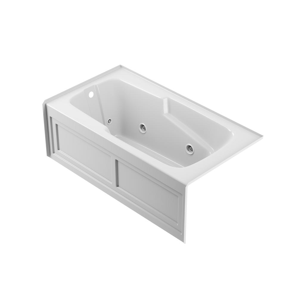 JACUZZI CETRA 60 in. x 32 in. Acrylic Left Drain Rectangular Alcove Whirlpool Bathtub in White