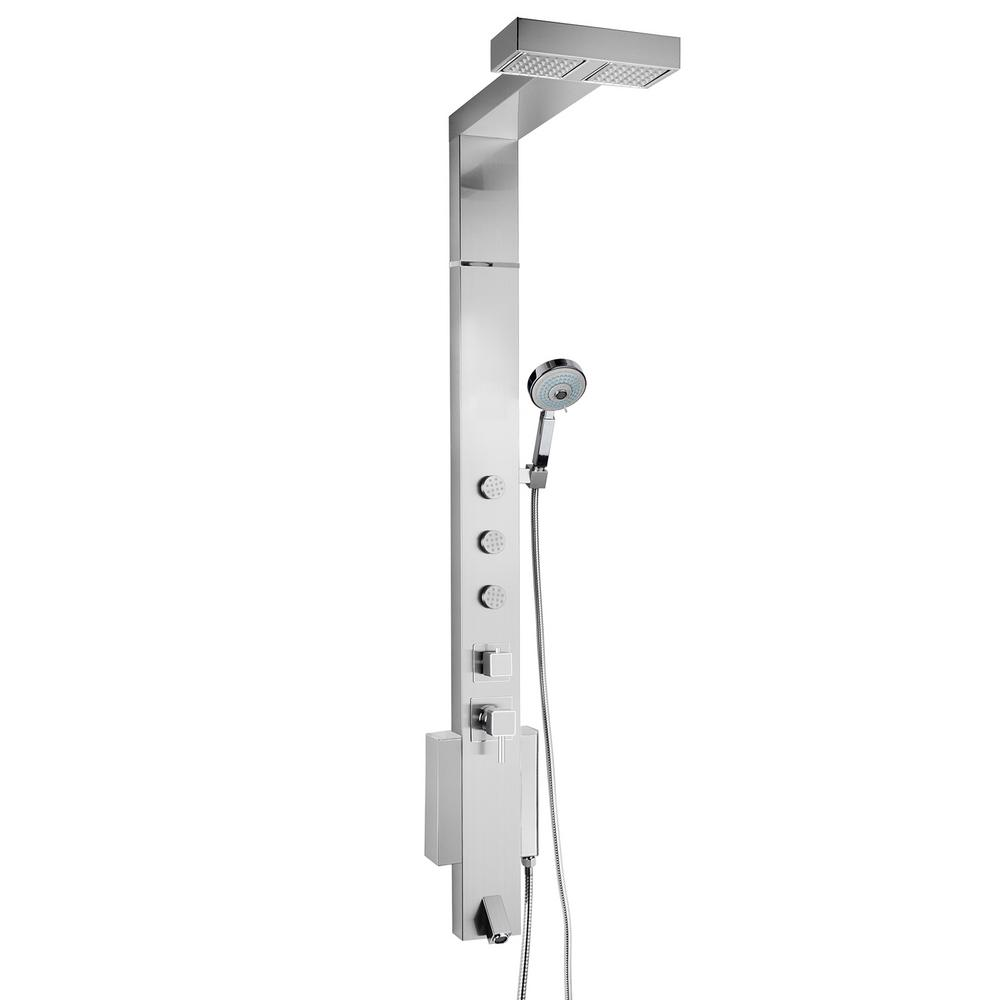 AKDY 59 in. 3-Jet Shower Panel System in Brushed Stainless Steel ...