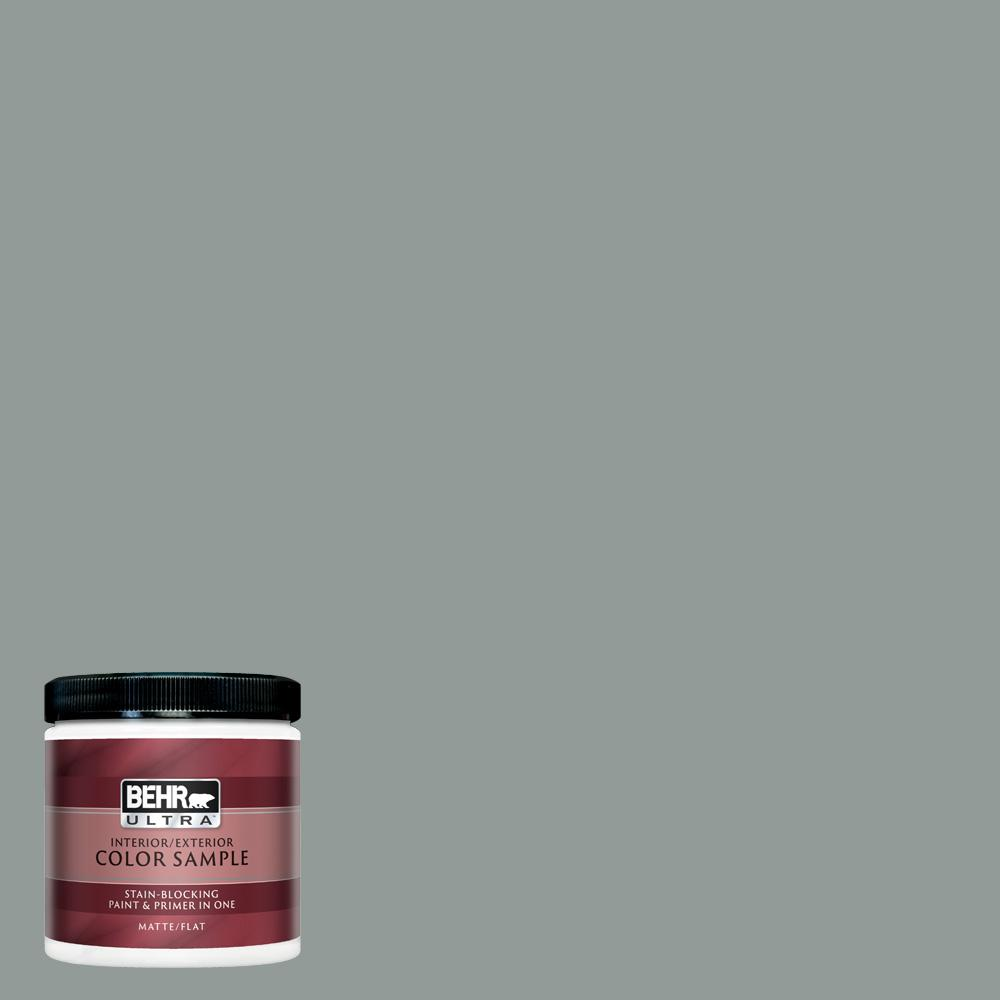 BEHR ULTRA 8 oz  #BXC-66 Dusk Blue Matte Interior/Exterior Paint and Primer  in One Sample