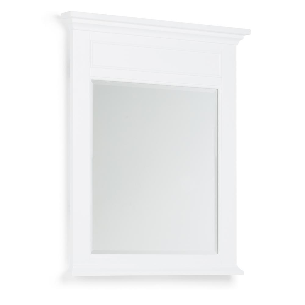 Simpli Home Evan 30 in. x 34 in. Bath Vanity Decor Mirror in White