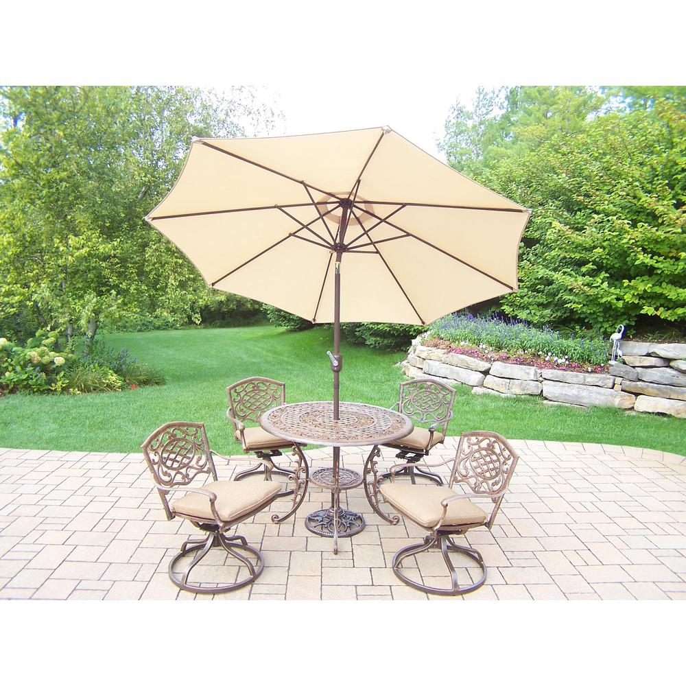 7-Piece Aluminum Outdoor Dining Set with Sunbrella Beige Cushions and Beige