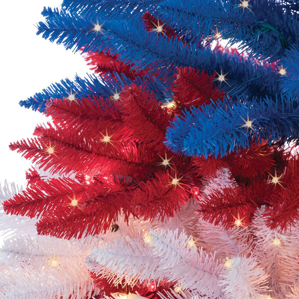 Red And White Christmas Lights.Sterling 7 5 Ft Patriotic America Artificial Christmas Tree In Red White And Blue With 1040 Clear Lights