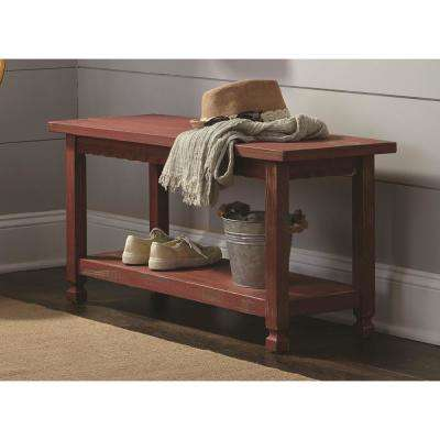 Charming Country Cottage Red Antique Bench