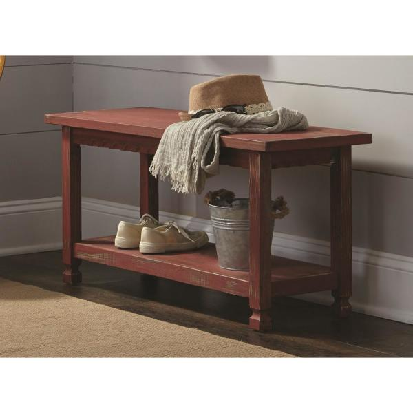 Alaterre Furniture Country Cottage Red Antique Bench Acca03ra The Home Depot