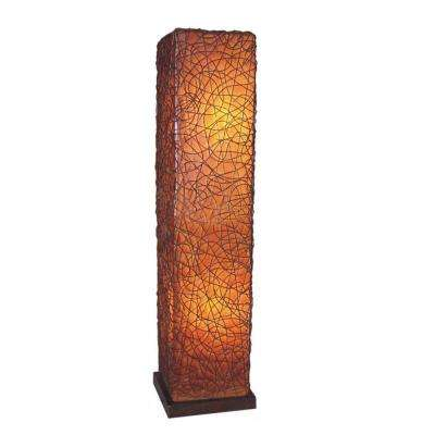 Paris 57 in. Amber Brown Square Floor Lamp with Natural Rattan Accent