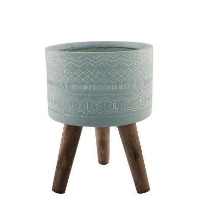 10 in. Sage Tribal Fiberglass Planter on Wood Stand