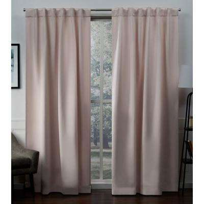 Sateen 52 in. W x 96 in. L Woven Blackout Hidden Tab Top Curtain Panel in Blush (2 Panels)
