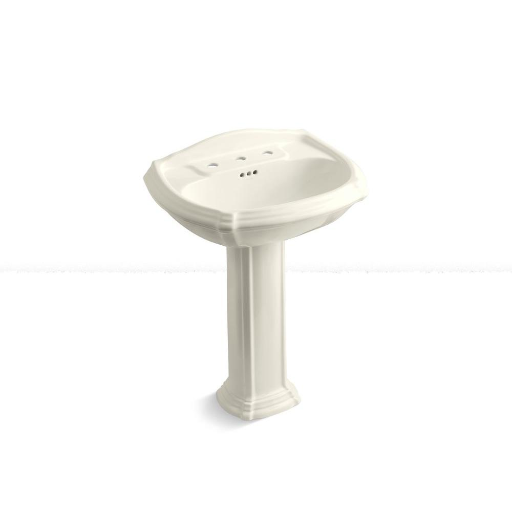 KOHLER Portrait Vitreous China Pedestal Combo Bathroom Sink in Biscuit with Overflow Drain