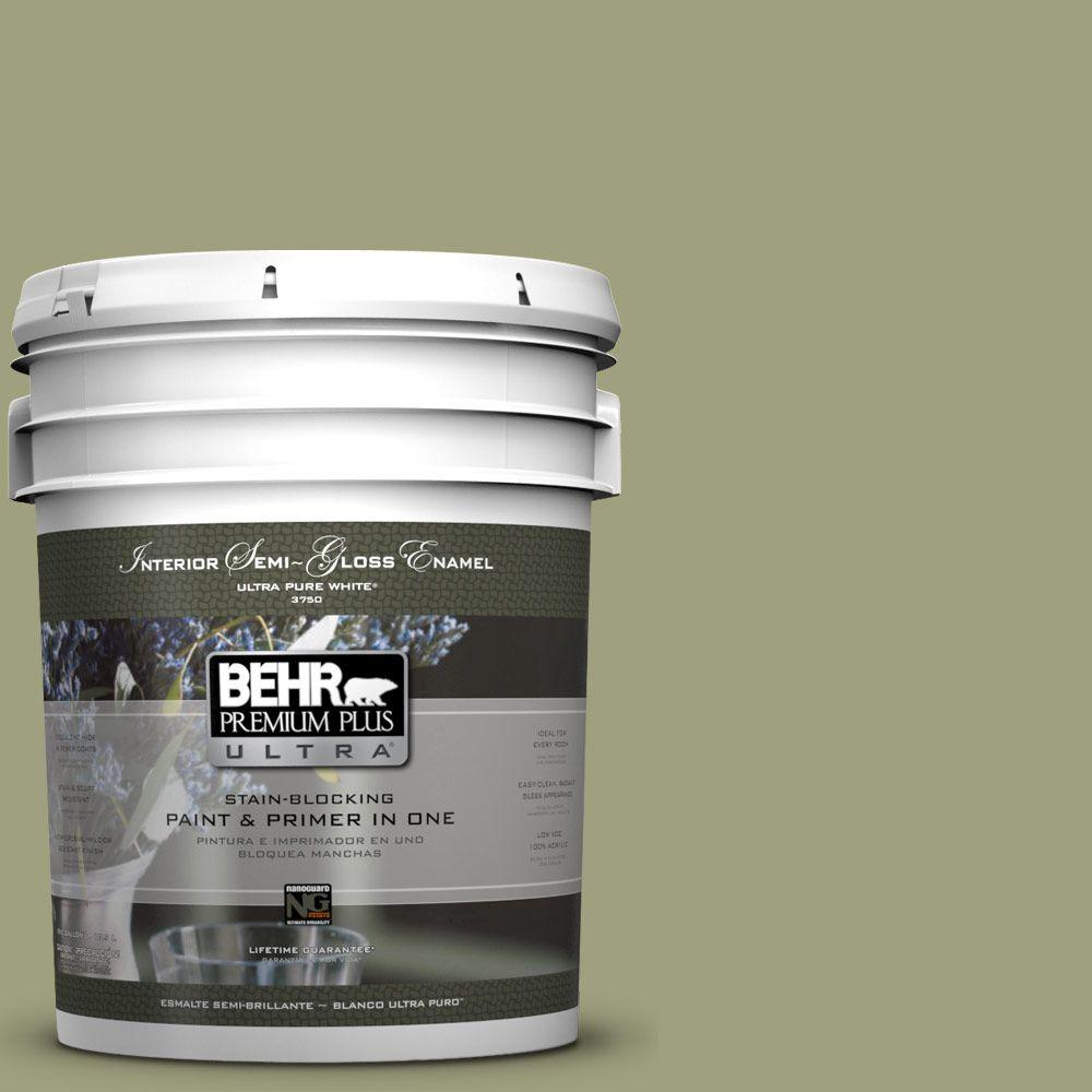 BEHR Premium Plus Ultra 5-gal. #BIC-57 French Parsley Semi-Gloss Enamel Interior Paint
