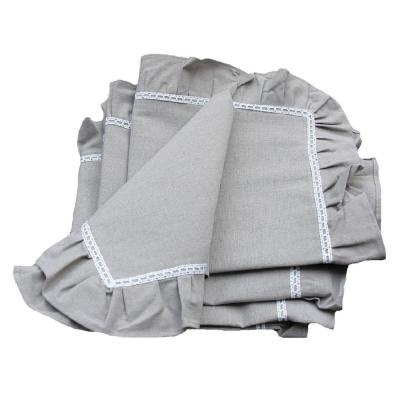 Ruffle Trim 20 in. x 20 in. Taupe with White Lace Napkins (Set of 4)