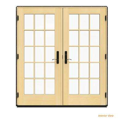 72 in. x 80 in. W-4500 Bronze Clad Wood Left-Hand 15 Lite French Patio Door w/Lacquered Interior