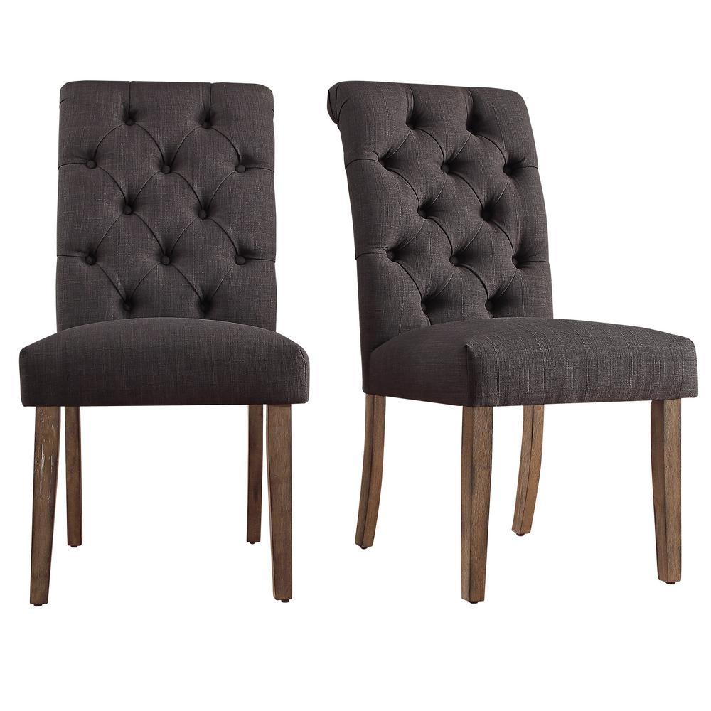 Homesullivan Huntington Dark Grey Linen Button Tufted Dining Chair Set Of 2 40e206c Dg2p The Home Depot