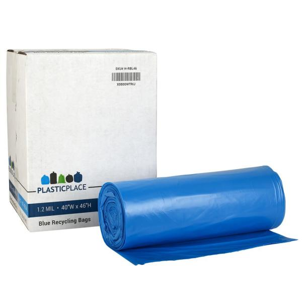 Garbage Bags. Blue 1.5 MIL 33x46 100 Bags//Case PlasticMill 40 Gallon