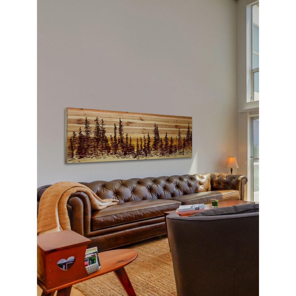 "20 in. H x 60 in. W ""Pine Tree Sunset"" by Parvez Taj Printed Natural Pine Wood Wall Art"