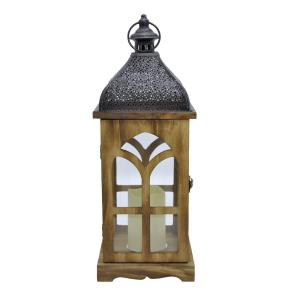 THREE HANDS 7 inch x 7 inch Brown Wood/Metal Lantern with LED Candle by THREE HANDS