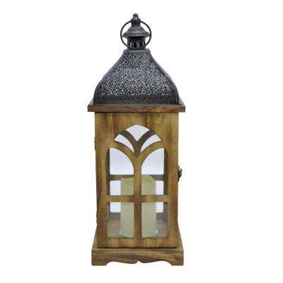 7 in. x 7 in. Brown Wood/Metal Lantern with LED Candle