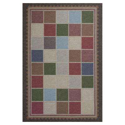 Quilted Charm Brown/Ivory 3 ft. 4 in. x 4 ft. 11 in. All-Weather Patio Area Rug