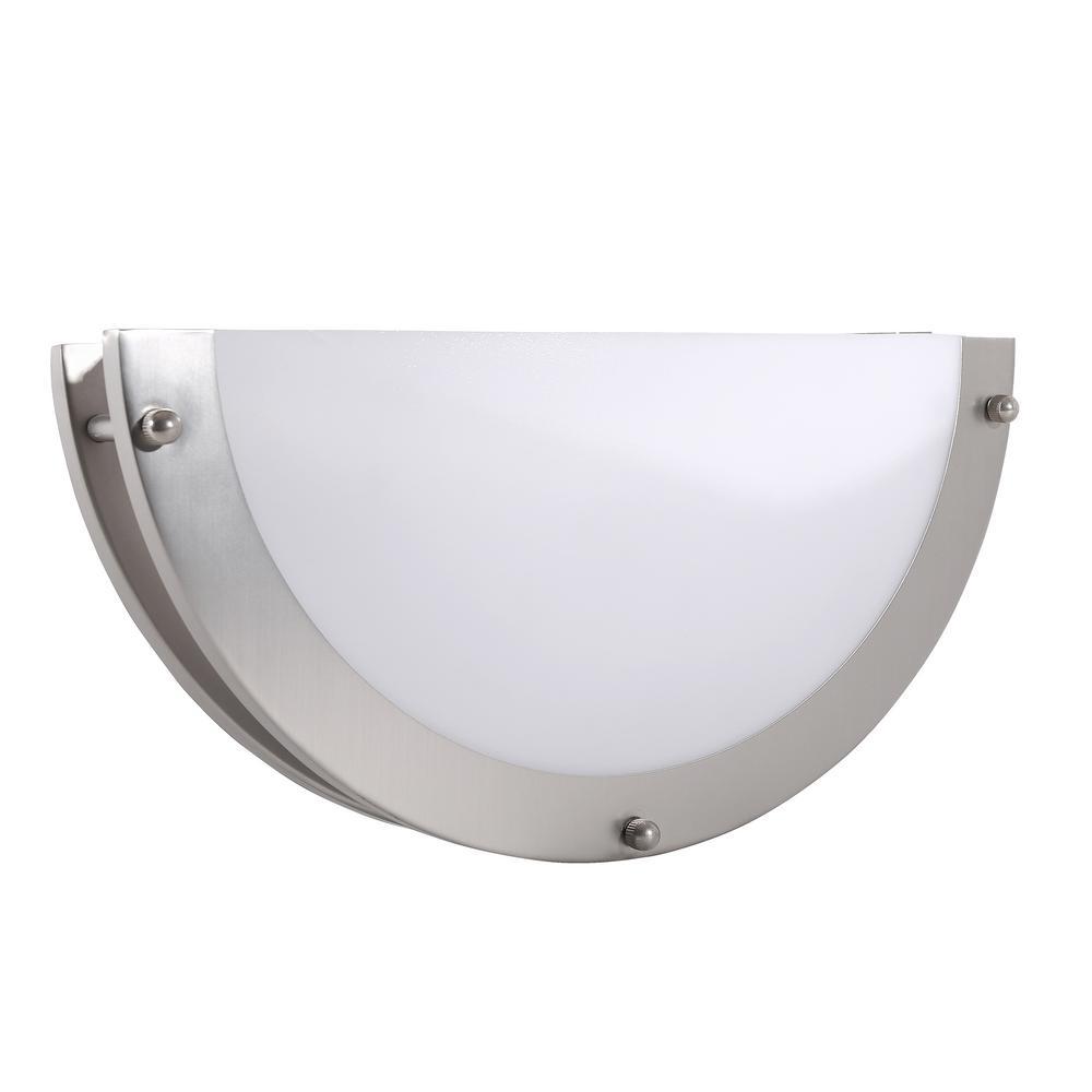 Brushed Nickel LED Sconce with White Crest Acrylic Shade