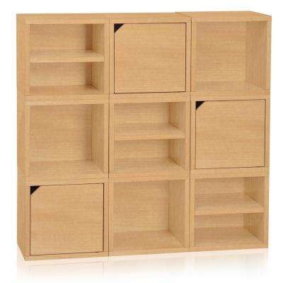 Connect System 40.2 in. W x 37.8 in. H zBoard Paperboard Modular Eco Stackable 9-Cube Cubby Organizer in Natural