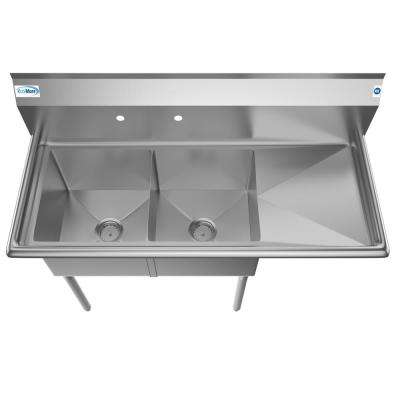 Freestanding Stainless Steel 48 in. 2-Hole Double Bowl Commercial Kitchen Sink Right Drainboard