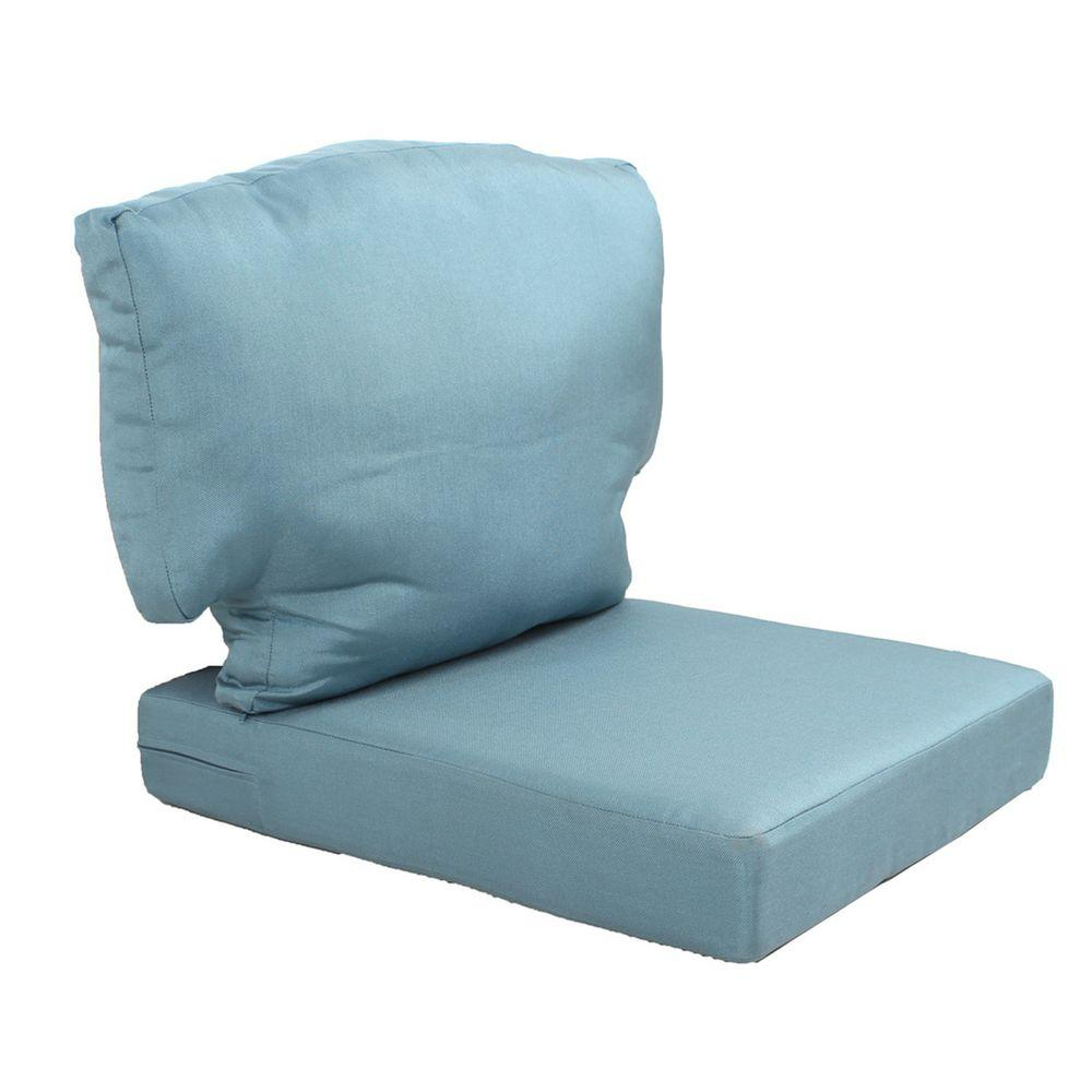 Martha Stewart Living Charlottetown Washed Blue Replacement Outdoor Chair Cushion
