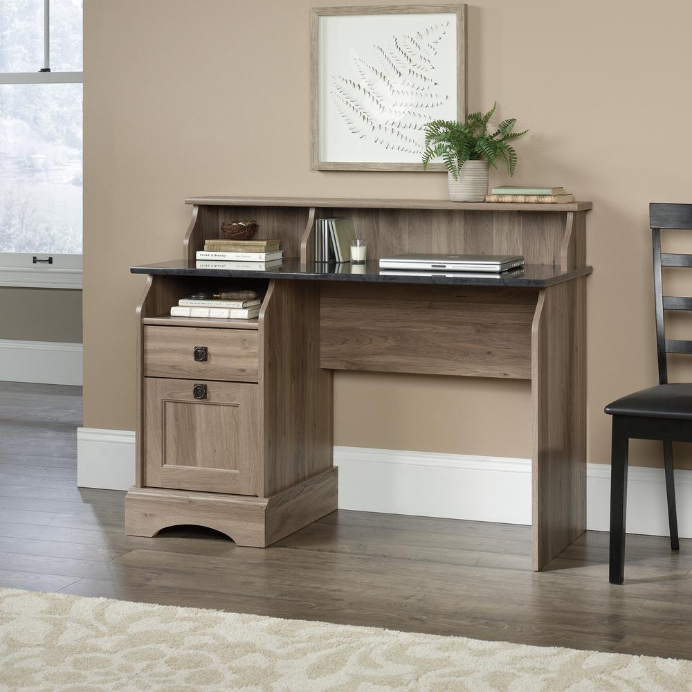 47 in. Rectangular Salt Oak 2 Drawer Computer Desk with File Storage