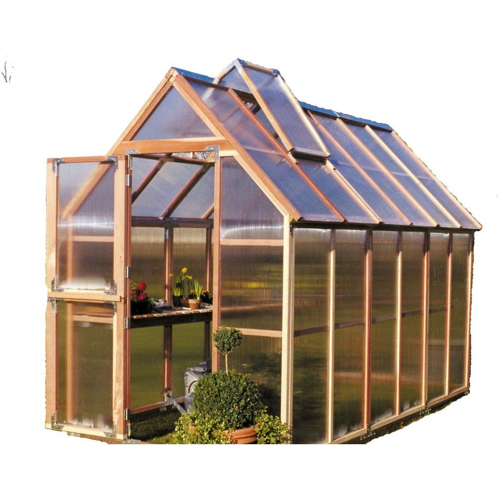 Sunshine Gardenhouse 72 in  W x 144 in  D x 100 in  H Redwood Frame  Polycarbonate Greenhouse