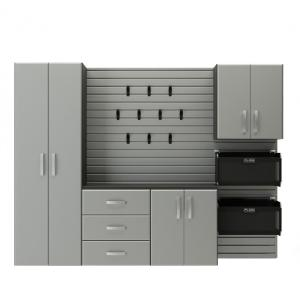 Flow Wall Deluxe Modular Mounted Garage Cabinet Storage Set With Accessories In Silver 5 Piece Fcs 9612 6s 5s2 The Home Depot