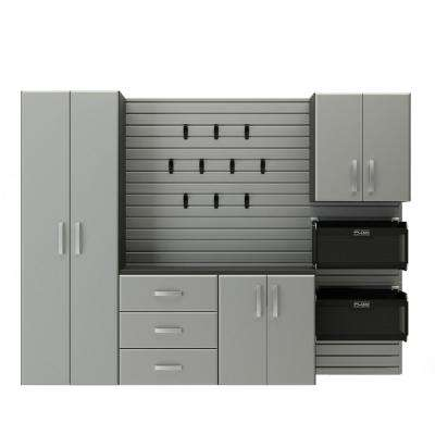 Deluxe Modular Wall Mounted Garage Cabinet Storage Set With Accessories In Silver 17 Piece
