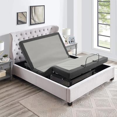 Classic Adjustable Gray Twin XL Bed Base with Wireless Remote Control