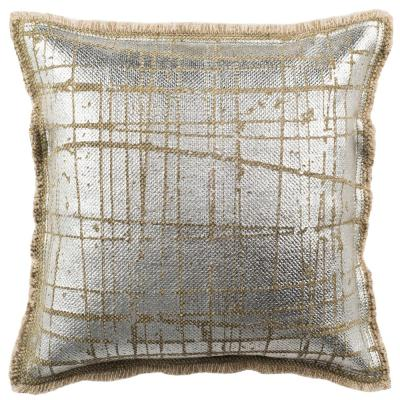 Metallic Grid Silvery-Moss Solid Down Alternative 20 in. x 20 in. Throw Pillow