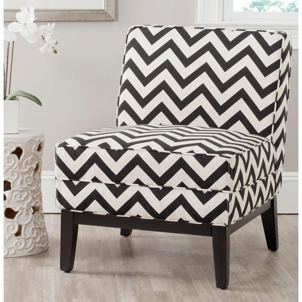 Safavieh Armand Black and White Zig Zag Linen/Cotton Accent Chair MCR1006D