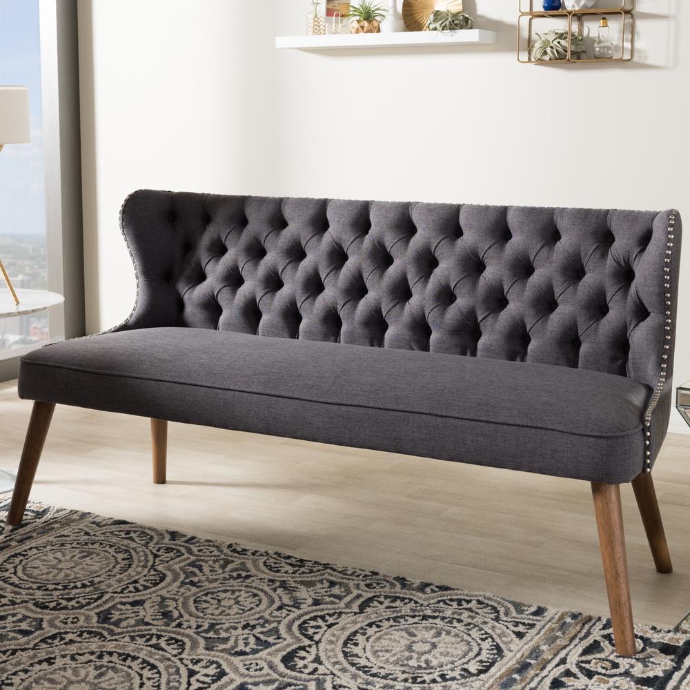Baxton Studio Scarlett Mid-Century Gray Fabric Upholstered Sofa 28862-7075-HD
