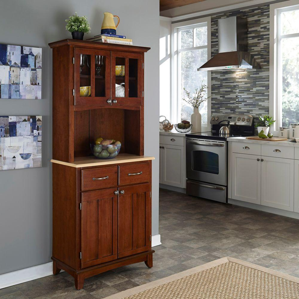 Home Styles Cherry and Natural Buffet with Hutch-19-19-19 ...