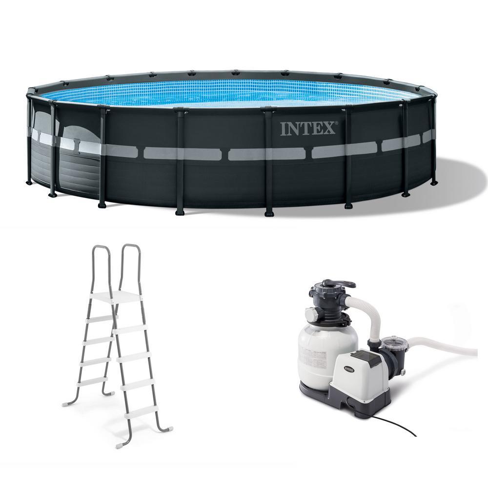 Intex intex 18 ft x 52 in ultra xtr frame round above - Intex 18 x 9 x 52 ultra frame swimming pool ...