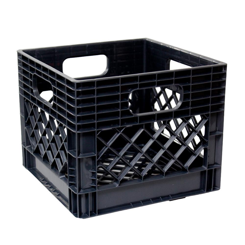 11 in. H x 13 in. W x 13 in. D Plastic Storage Milk Crate in Black (4-Pack)