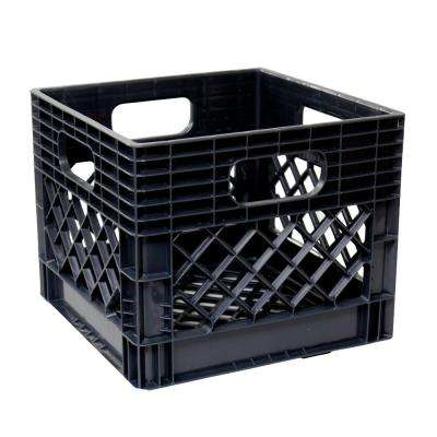 11 in. H x 13 in. W x 13 in. D Plastic Storage Milk Crate in Black (4-Pack)